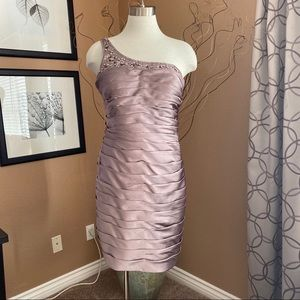ADRIANNA PAPELL One Shoulder Embellished Mini Dres